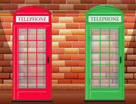 antique booth: Two telephone booth on street illustration