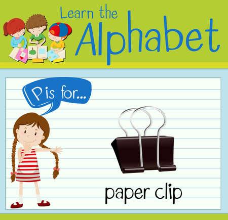 p illustration: Flashcard letter p is for paper clip illustration