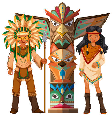 Native american indians and totem pole illustration