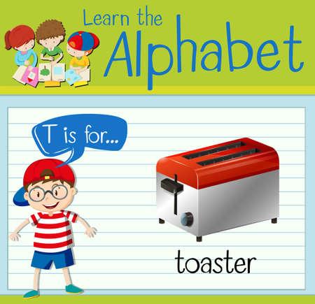 Flashcard letter T is for toaster illustration Illustration