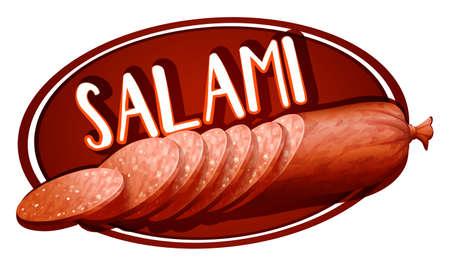 Label design with salami illustration Illustration