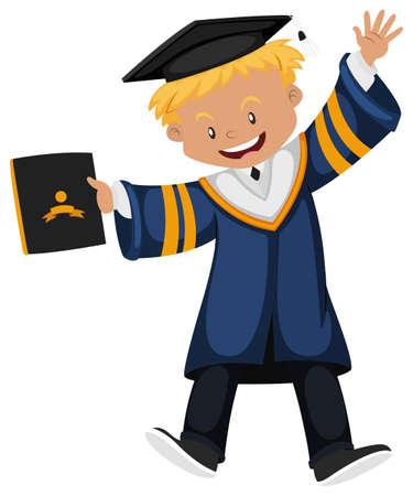Man in graduation gown holding diploma illustration Illustration