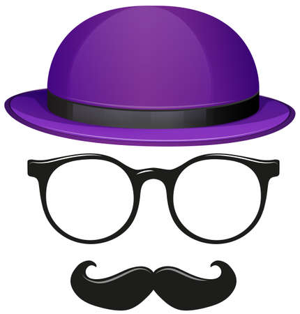 fashion glasses: Male fashion with glasses and mustache illustration