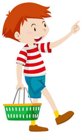 happy children: Little boy with shopping basket illustration