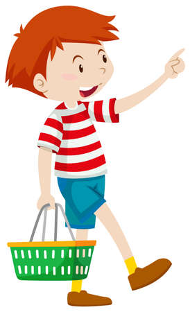 Little boy with shopping basket illustration