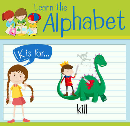 kill: Flashcard letter K is for kill illustration