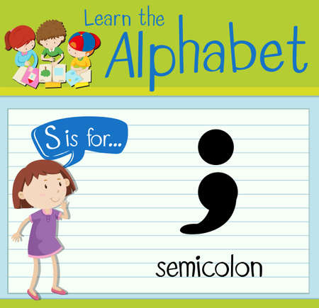 punctuation: Flashcard letter s is for semicolon illustration