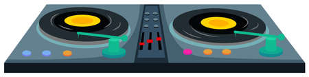music machine: Disc jockey machine with two music disks illustration Illustration