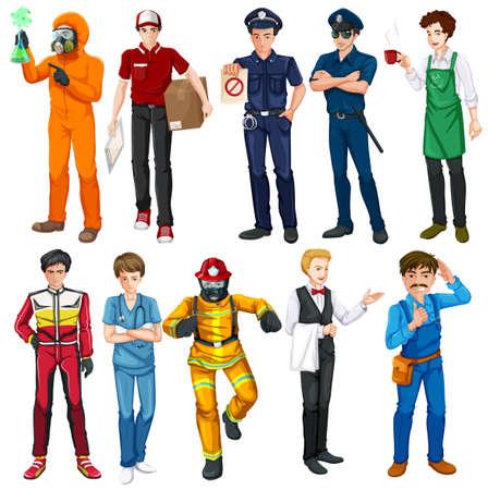 jobs: Men doing different types of jobs illustration