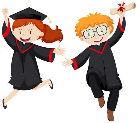 Two graduated students in graduation gowns illustration