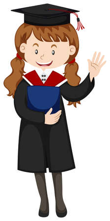 Woman in graduation gown illustration