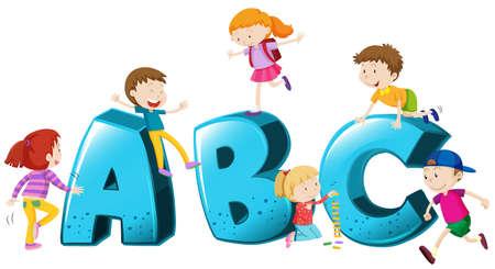 b: Children playing on font ABC illustration