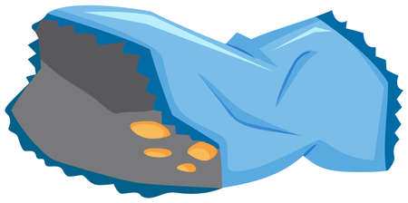 plastic bag: Blue plastic bag with chips illustration
