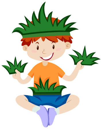 fantacy: Boy in grass outfit illustration Illustration