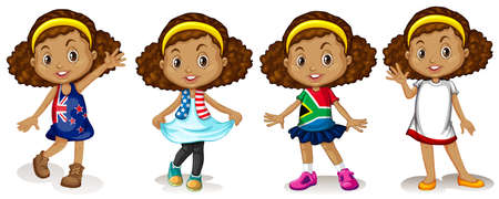 different countries: Little girl wearing shirts from different countries illustration