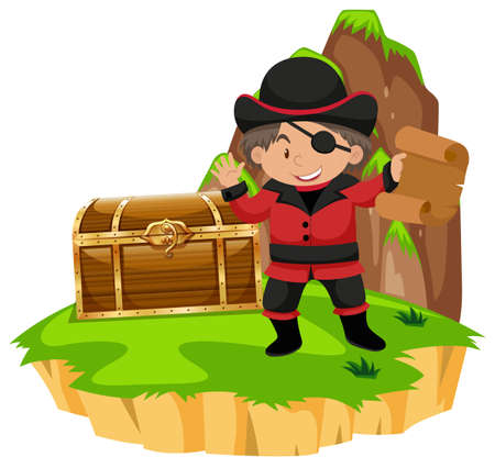 Pirate and treassure chest on island illustration