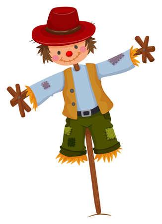 espantapajaros: Espantapájaros con sombrero rojo de la ilustración y el chaleco