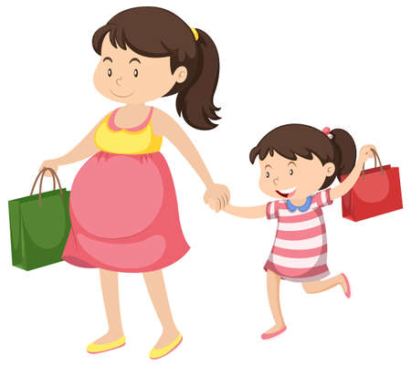 Pregnant woman and little girl illustration Illustration