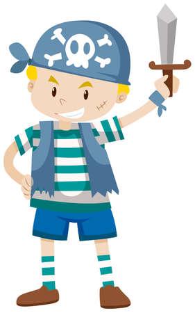 pirate crew: Boy dressed as pirate crew illustration