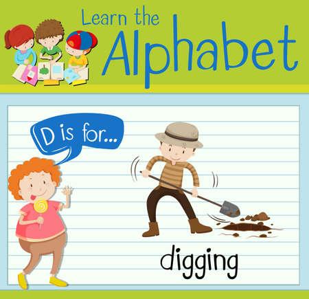 digging: Flashcard letter D is for digging illustration