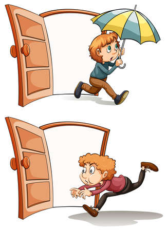 Man walking in and out the door illustration