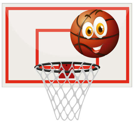 shooting at goal: Basketball with happy face and net illustration Illustration