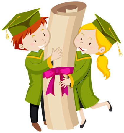graduation gown: Man and woman in green graduation gown illustration
