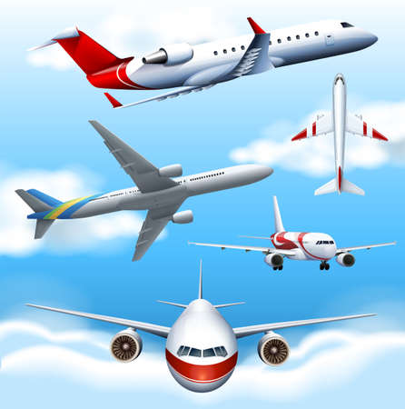 aeroplanes: Many airplanes flying in the sky illustration