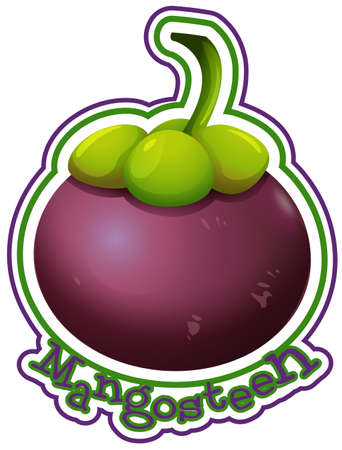 Label design with word mangosteen illustration