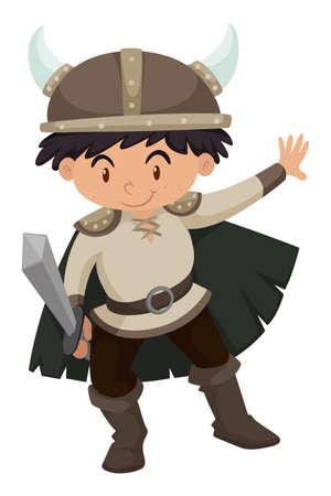 Boy in viking costume illustration Illustration
