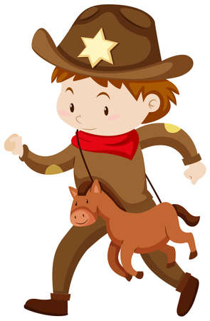 outfit: Boy in cowboy outfit with toy horse illustration