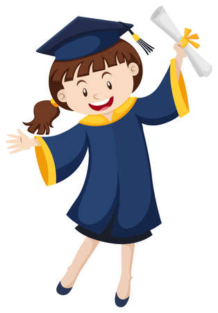 Woman in graduation gown holding degree illustration