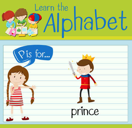 fantacy: Flashcard letter P is for prince illustration