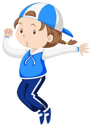 Little girl in blue jumpsuit exercise illustration