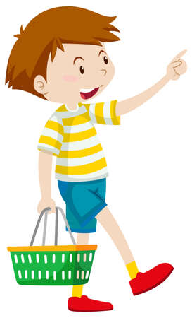 happy shopper: Little boy holding shopping basket illustration Illustration