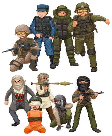 Criminals and SWAT team illustration