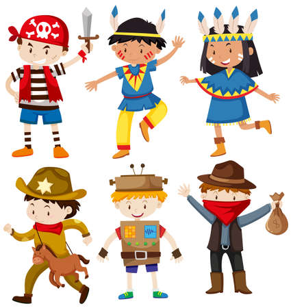 indian teenager: Children in different costumes illustration