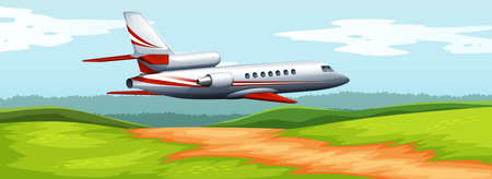 rural scene: Scene with airplane flying over the field illustration