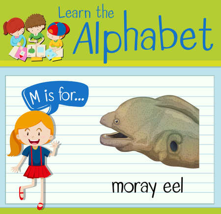 moray: Flashcard letter M is for moray eel illustration