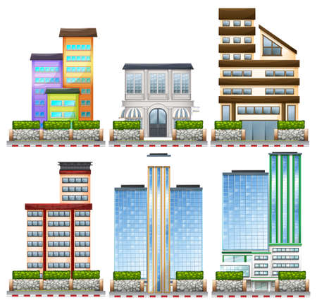 resident: Different designs of buildings illustration