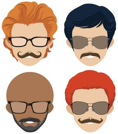 multiple: Mustach styles and glasses for men illustration