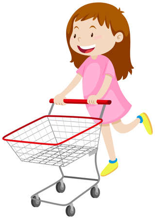 happy shopper: Girl pushing shopping cart illustration Illustration