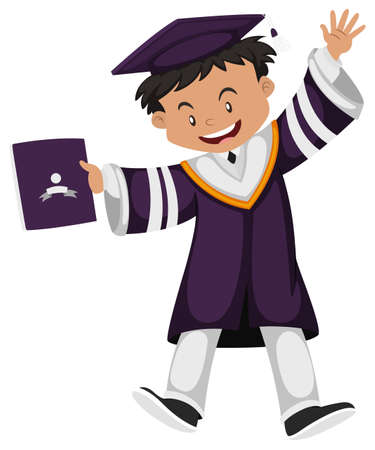 outfit: Man in purple graduation outfit illustration