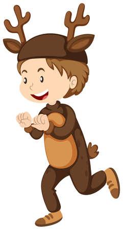 Boy dressed up as reindeer illustration