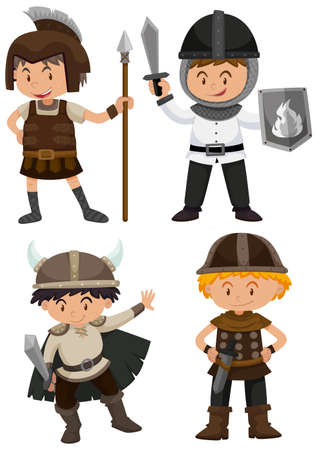 sheild: Four kids in warrior costume illustration