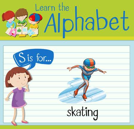 kid s illustration: Flashcard letter S is for skating illustration