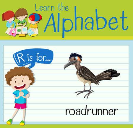 Flashcard letter R is for roadrunner illustration