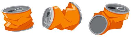 basurero: latas usadas en el fondo blanco ilustración Vectores