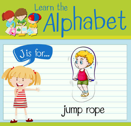 saltar la cuerda: Flashcard letter J is for jump rope illustration