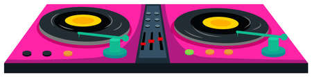 music machine: DJ music machine in pink color illustration